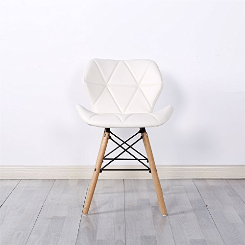 Simpa® Eiffel Inspired White Millmead Style Dining Chair Natural Solid Wood Legs with Cushioned Pad Contemporary Designer for Office Lounge Dining Kitchen - White x 2