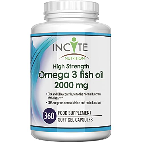 Omega 3 Fish Oil 360 Soft Gels - 2000mg | High Levels of EPA & DHA | Premium Easy Swallow Omega3 Fish Oils Gel Capsules Made in Britain by Incite Nutrition