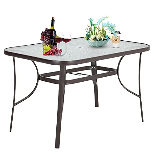 Outdoor Rectangle Dining Table Tempered Glass Top with Parasol Hole for Garden Patio Balcony Backyard Brown,120 * 80 * 72cm