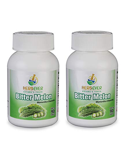 HerbEver Bitter Melon - (500MG 90 Tablets, Natural Vegetarian & GMO Free Pack of 2 (180 Counts)