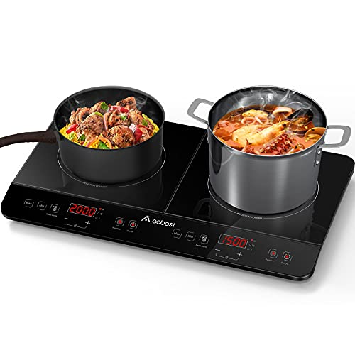 Aobosi Induction Hob,Double Induction Hotplate,Portable Electric Cooker with Sensor Touch Control Black Crystal Glass Plate Multiple Power Levels and 10 Temperature Setting 4-Hour Timer 2800W