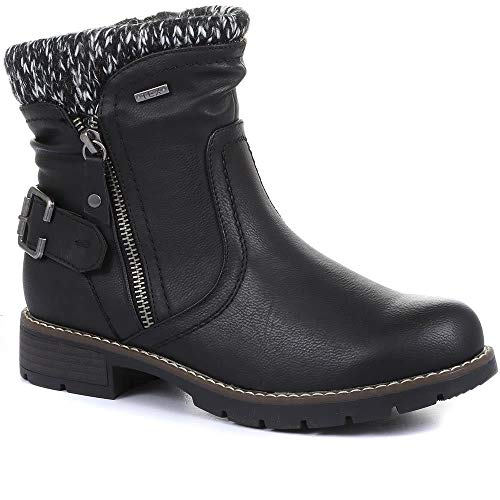 Pavers Water Resistant Ankle Boots for Women   Cosy Linings & Water Repellent Properties   Outdoors & Walking   Side Zip Fasten & Cushioned Footbed - Black Size 5 UK