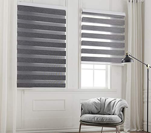 Taiyuhomes Day and Night Zebra Roller Blind Double Fabric Translucent or Blackout Vision Curtains for Window and Door with Aluminium Cassette(Grey 70x150)