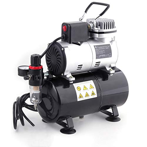 Timbertech Professional Piston Airbrush Compressor with Cooling Down Fan ABPST08 Airbrush Mini Compressor Oil-Less Quiet Spraying Air Compressor with Tank 220-240V