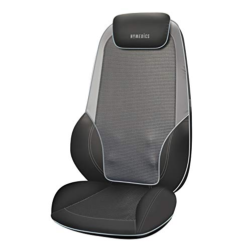 HoMedics ShiatsuMax 2.0 - Electric Heated Shiatsu Back Massager with Remote Control, Deep Kneading Massage Chair for Shoulders, Back, Upper Legs, Adjustable Headrest and Cushion Back Flap - Grey