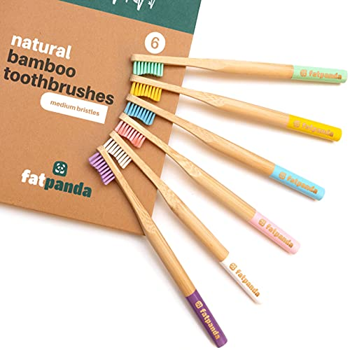 Bamboo Toothbrushes   6 Pack   BPA Free Medium Bristles   Eco-Friendly & Biodegradable   Plastic Free Wooden Handle   Recyclable Eco Toothbrush Kids & Adults