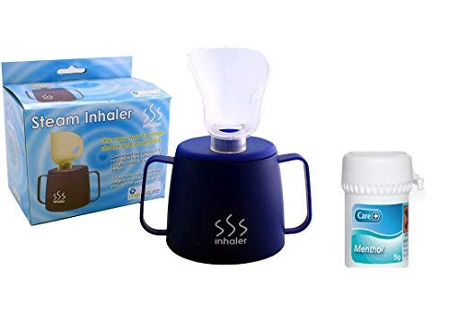 Medisure Steam Inhaler Cup with Menthol Crystals 5 Grams (Any Brand Menthol Crytals) , Steam Inhaler for Colds , Coughs, Flu and Blocked Sinuses