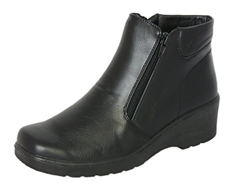 Cushion Walk Women's Black Low Wedge Ankle Boots with Double Zip Fastening & Non-Slip Sole - Sizes 3-8 (5 UK 38 EU)