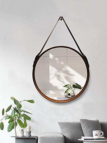Hosoncovy PU Leather Wall Round Mirror Hanging Decorative Mirror with Strap Makeup Mirror Vanity Mirror for Bathroom Living Room Bedroom