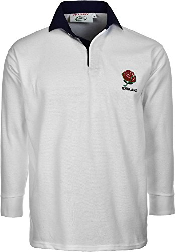 Activewear Men's England WITHN EMBROUDRY Logo Rugby Shirt, (L, White/Navy Colour)