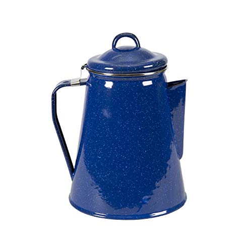 Stansport 8 Cup Percolator Enamel Coffee Pot with Basket, Blue (10343)