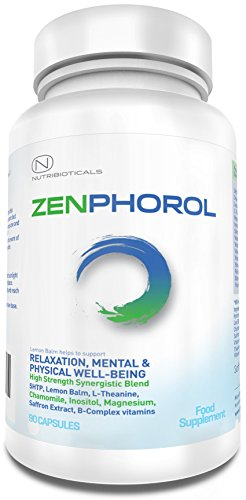 Zenphorol® for Stress Relief, Relaxation, Mental and Physical Well-Being with 5HTP, Lemon Balm, L-Theanine, Chamomile, Inositol, Magnesium, Saffron Extract and B Complex vitamins | 1530mg ACTIVE per serving | 90 Capsules