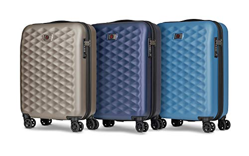 Wenger 604348 LUMEN 20 Inch Carry-On Suitcase Set of 3, Expandable Hard Shell Cabin Hand Luggage with 4 Spinner Wheels and TSA Approved Combination Lock in Titanium, Navy & Blue {36 Litres}