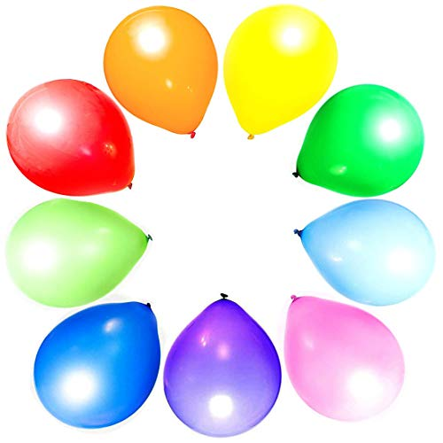 Craftsboys Balloons Rainbow Set 12 Inch, Assorted Bright Colors, Strong Multicolored Latex, for Helium Or Air Use. Kids Birthday Party Decoration Accessory (Assorted, 30pcs)