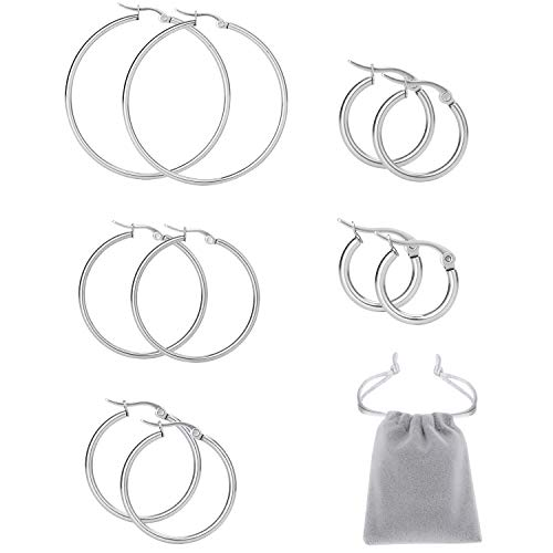 Elicola 5 Pairs Stainless Steel Hypoallergenic Large Hoop Earring Sets for Women Girl