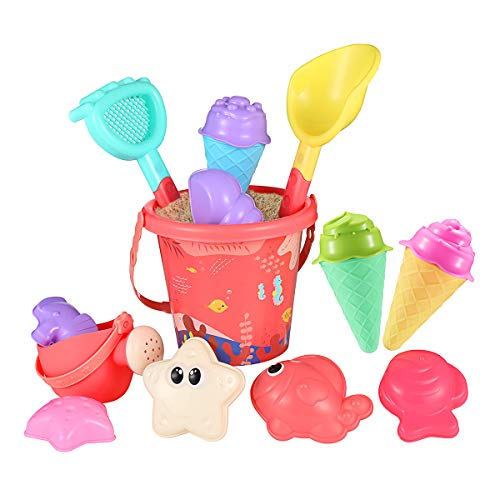 iBaseToy Beach Sand Toy - Sand Pit Toys Ice Cream Mold Set for Toddlers & Kids - Sandbox Toys with 6 Ice Cream Mold, 6 Animal Molds, Beach Bucket, Watering Can, Shovels & Rakes, 16 Pieces