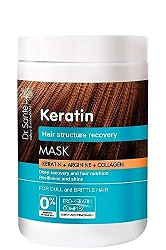 Dr.Sante Keratin Mask with Arginine and Collagen. Deep Cleansing Regenerating and Nourishing for Brittle and Dull Hair. Hair Structure Recovery 1000ml