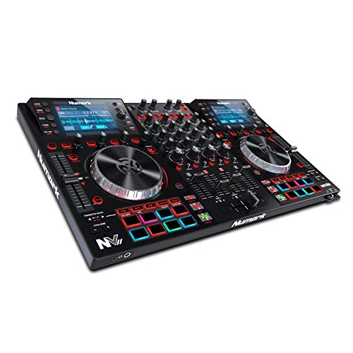 Numark NVII - Intelligent 4-Deck DJ Controller For Serato DJ (Included) With Dual High Resolution Displays, 5-Inch Metal Platters, 16 Velocity Sensitive Pads and Toolroom Artist Packs