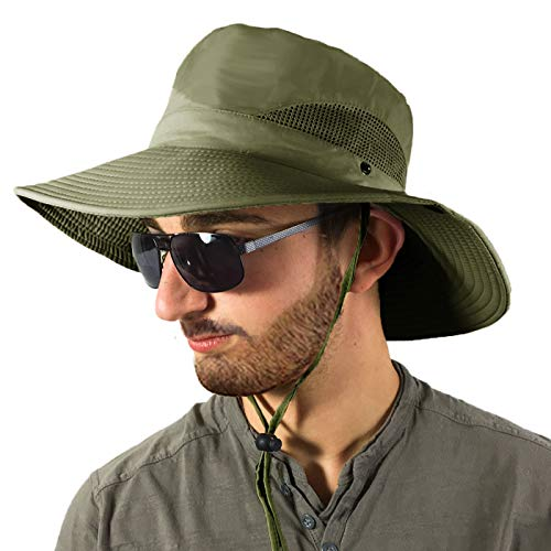 TOSKATOK Unisex Mens Ladies Lightweight Foldable Mesh Breathable Wide Brim Outback Summer Safari Hat Cap with Adjustable Chin Strap for Sun Protection, Beach, Holiday, Fishing Olive