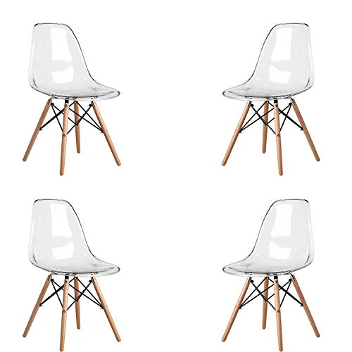 MeillAcc Batch of 4 Scandinavian Transparent Chair Chair Dining Chair Polycarbonate Chair Transparent Chair Simple and Convenient (White)