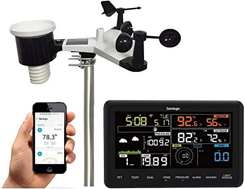 Sainlogic professional WLAN weather station, 7 in 1 WiFi weather station with Solar powered outdoor sensor, rain collector, weather forecast , wind gauge, color diaplay, Wunderground