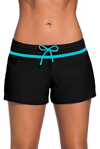 Dokotoo Womens Wide Waistband Swim Beach Board Shorts Solid Color Drawstring Swimsuit Tankini Bottoms, 10/12/2020, A-blue/Black