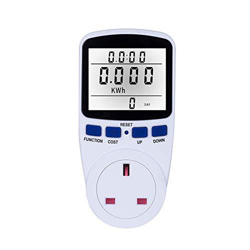 Decdeal Energy Monitor, LCD Display Electricity Usage Power Meter Socket Energy Watt Volt Amps Wattage KWH Consumption Analyzer Monitor Outlet AC230V~250V