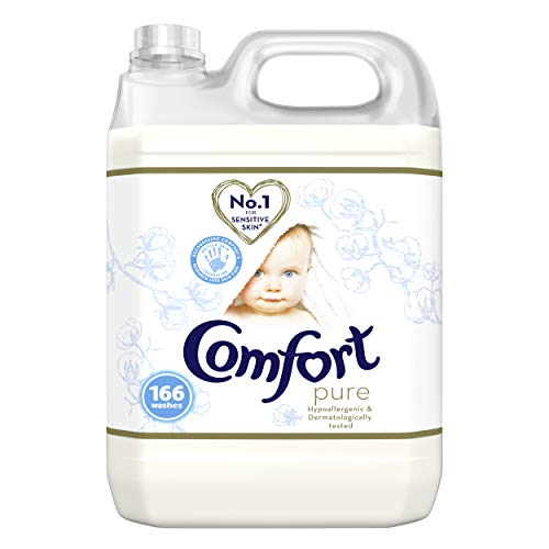 Comfort Dermatologically tested Pure suitable for the whole family's clothes Fabric Conditioner gentle next to sensitive skin 166 Wash 5 l ( Packaging may vary)