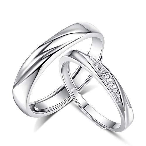 Jösva Silver Rings for Couples, 925 Sterling Silver Adjustable Round Split Rings, Hypoallergenic, Universal Size Twist Rings with Platinum Plated, Rings for Women with 5A Cubic Zirconia