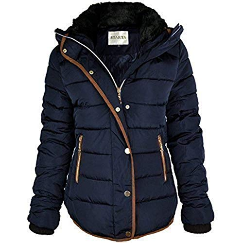 Fashion Thirsty Womens Ladies Quilted Winter Coat Puffer Fur Collar Hooded Jacket Parka Size New (UK 16, Navy Blue/Brown Trim)
