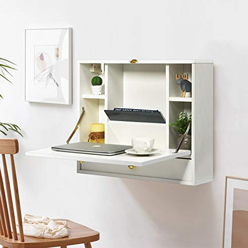 COSTWAY Wall-mounted Drop-leaf Table, Space Saving Laptop Computer Desk Workstation, Folding Hanging Table Cabinet with Storage Drawer and Shelves, Capacity 20KG (White)