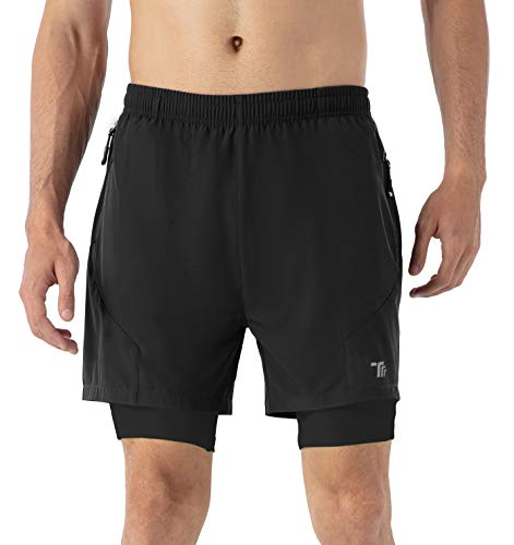 YSENTO Mens 2 in 1 Running Sports Shorts Lightweight Gym Training Quick Dry Jogger Shorts with Zip Pockets(Black,M)
