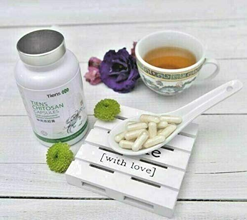 CHITOSAN CAPSULES By Tiens - Best Of Chitosan Supplements - Chitosan Capsules - Chitosan Tablets - Chitosan Powder - 85% Degree of Chitin Deacetylation - Supports Slimming Diet - Facilitates Weight Control