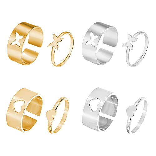 4 Pairs of Couple Rings Matching Butterfly Rings for Women Men Couples Friendship Heart Adjustable Rings Wedding Rings Engagement Rings Promise Cute Rings Gifts for Friend/Teen Girls/Girlfriend