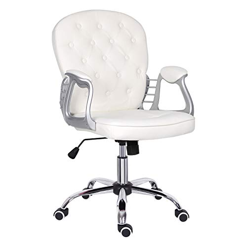White Desk Chair,Leather Executive Chair with Mid Back Adjustable Height Computer Chair Comfy Padded Office Chair Swivel Chair,Home/Office Furniture
