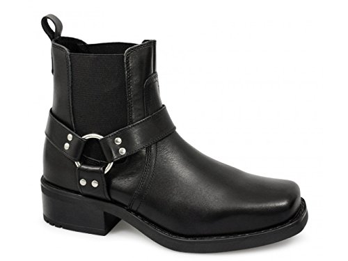 Gringos Black Biker Style Low Harley Leather Boot with Harness 8