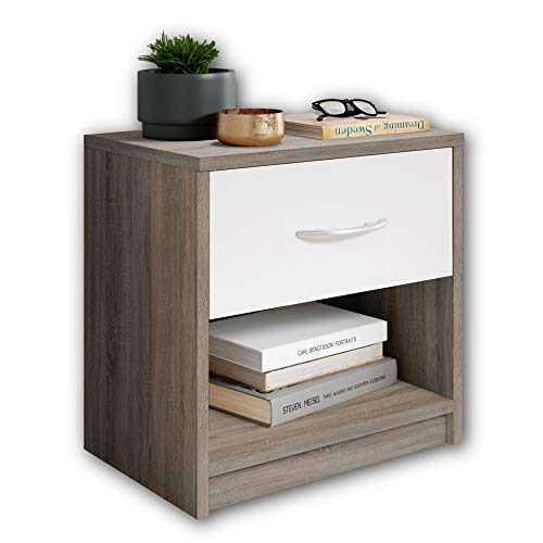 Stella Trading Bedside Table, Wood, Truffle/Abs. White, 28 x 39 x 41 cm