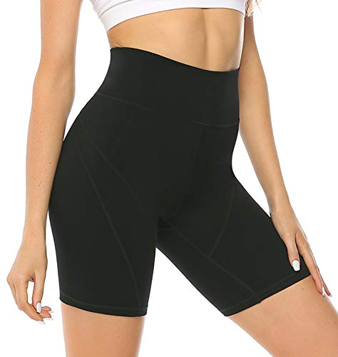 JOYSPELS Womens High Waisted Sports Shorts - Workout Running Sports Shorts Yoga Black Cycling Shorts for Womens with Pockets- Black - M