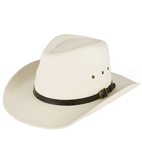 Men's Ladies Plain Stetson Style Cowboy Hat With Belt with Buckle Band - Cream (57/M)