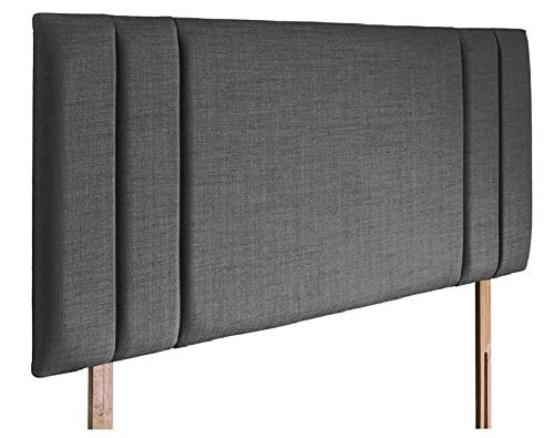 mm08enn new side bar bed headboard in linen fabric available in and sizes (4ft6 double, slate grey)