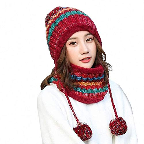 Aisaving Women Knitted Hat Scarf Set Winter Warm Thicken Crochet Bobble Pom Pom Beanie Hat Cap Outdoor Ski Snowboard Cycle Bobble Hemming Hats with Fleece Lining(Red)