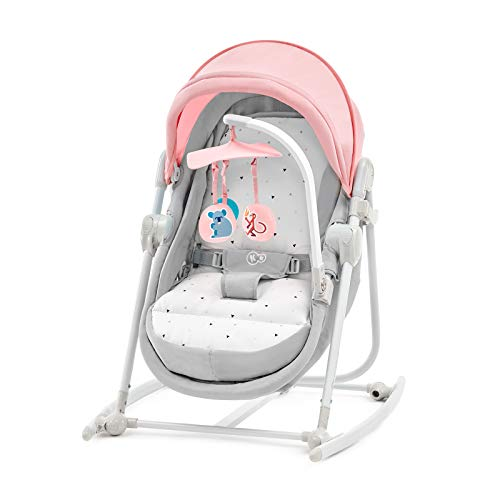 Kinderkraft Chair Bouncer UNIMO 5in1 Rocker Swing Cot Folded with Removable Toy Bar Lying Position Adjustable Backrest Mosquito Net Harness for Newborn Baby Toddlers to 3 Years Pink
