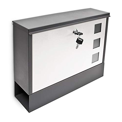 Relaxdays Modern Two Coloured Mailbox Letterbox Lockable with Two Keys and Newspaper Slot, Black-White