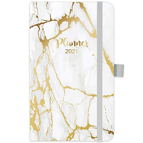 Diary 2021 - Weekly & Monthly Pocket Diary Planner, Jan 2021 - Dec 2021, Agenda Planner and Schedule Organizer with Pen Holder, Bonus Note Pages and Inner Pocket