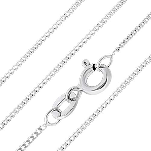Aeon Jewellery 925 Sterling Silver Necklace - 1mm Diamond Cut Curb Chain Necklace   16