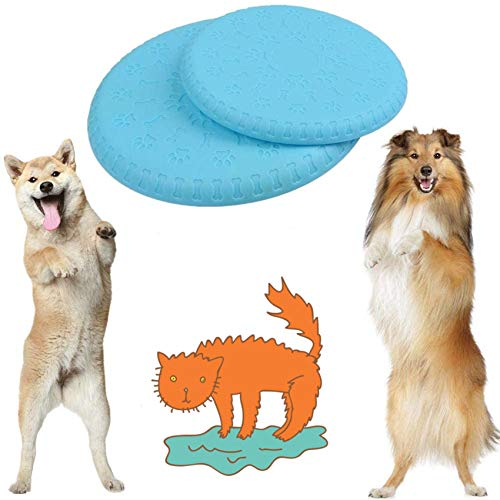 BUYGOO 2 Packs of Dog Frisbee InteractiveToy for Small Middle and Large Dogs 100% Non-toxic Rubber Frisbees Dog Flying Toy Disc for Training Outdoor&Indoor(18cm & 22cm)