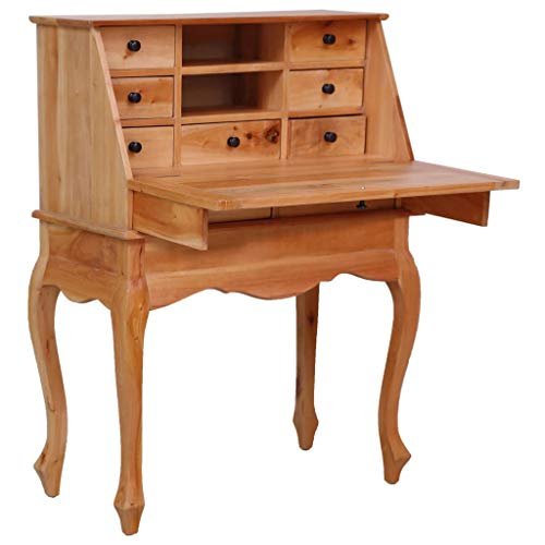 vidaXL Solid Mahogany Wood Secretary Desk with 9 Drawers 2 Open Compartments and One Flip Writing Board Writing Secretair Classical Desk