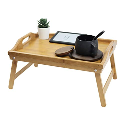 KKTONER Bamboo Bed Tray Table with Folding Legs Foldable Serving Portable Laptop Tray Snack Tray Breakfast Tray Bed Table Drawing Table (40)