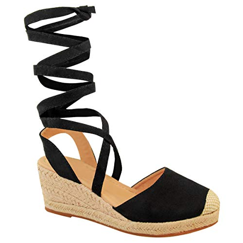 Womens Platform Sandals Ladies Summer Tie Up Wedge Espadrilles Sandals Wraparound Closed Toe Lace Up Flatform Comfy Mid Heel Casual Holiday Shoes