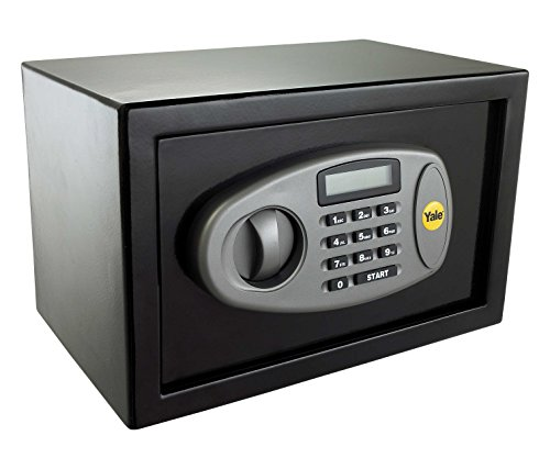 Yale Y-SS0000NFP Small Digital Safe, Steel Construction, Steel Locking Bolts, LCD Display, Emergency Override Key, Wall And Floor Fixings, Black Finish, 8 Litre Capacity 20 x 31 x 20 cm